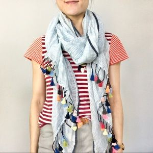 Pale blue linen scarf with rainbow tassels